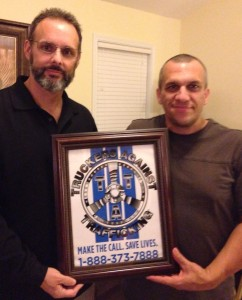 Tony Mullen ~ CCP President presents one of the first decals to Scott Ehrenreich